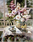 Flowers in a Vase with a Teacup Wrapped Canvas Giclee Print