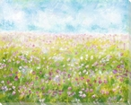Flowers in the Field Wrapped Canvas Giclee Art Print Wall Art