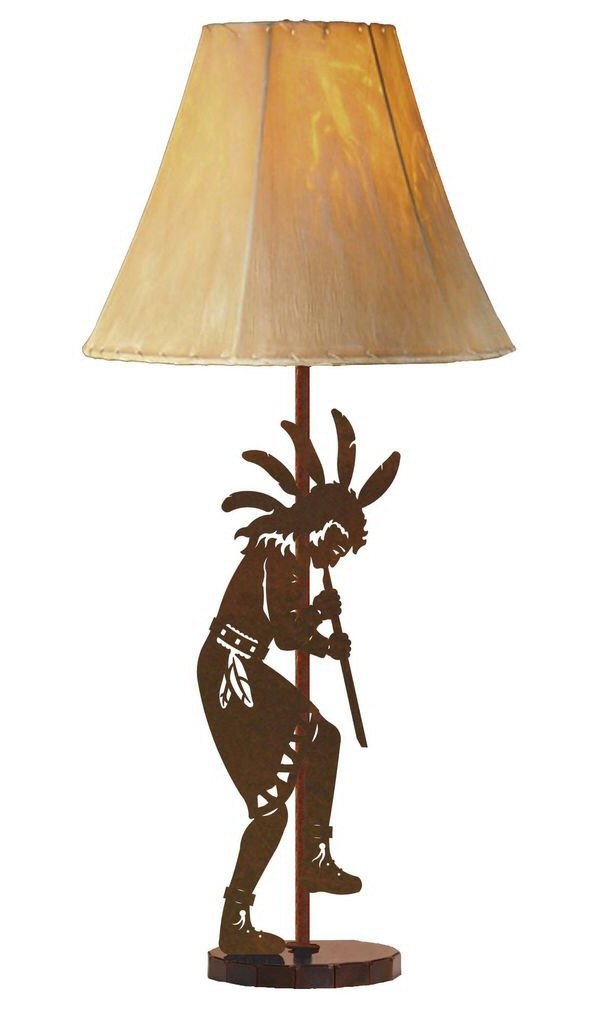 flute player tall metal table lamp southwestern style