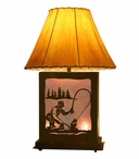 Fly Fisherman Scenic Metal Table Lamp with Night Light