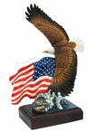 Flying Bald Eagle with American Flag Bird Sculpture