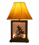 Flying Ducks Scenic Metal Table Lamp with Night Light