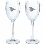 Flying Eagle Bird Pewter Accent Wine Glass Goblets, Set of 2