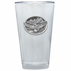 Flying Eagle Bird Pint Beer Glasses with Pewter Accent, Set of 2