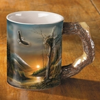Flying Free Eagle Bird Sculpted Stoneware Coffee Mugs, Set of 6
