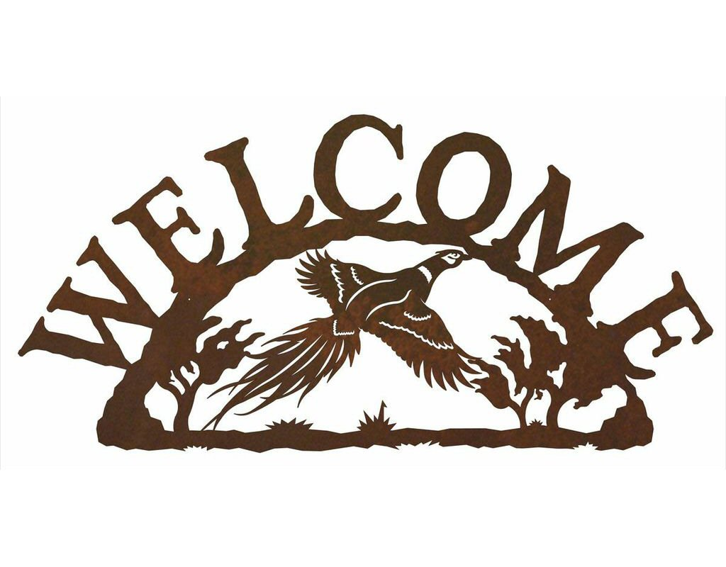 Flying pheasant bird metal welcome sign rustic outdoor for Outdoor decorative signs