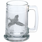 Flying Pheasant Glass Beer Mug with Pewter Accent