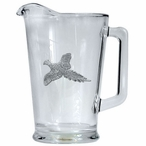 Flying Pheasant Glass Pitcher with Pewter Accent