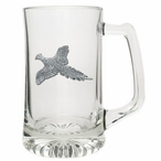 Flying Pheasant Glass Super Beer Mug with Pewter Accent