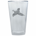 Flying Pheasant Pint Beer Glasses with Pewter Accent, Set of 2