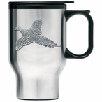 Flying Pheasant Stainless Steel Travel Mug with Handle & Pewter Accent