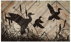 Flying Waterfowl Silhouette Wood Sign