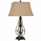 Flynn Metal and Resin Table Lamp with Metal and Burlap Shade