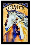 Follow Me Horses Stained Glass Welcome Wall Art