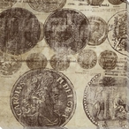 Foreign Coin Montage I Wrapped Canvas Giclee Print Wall Art