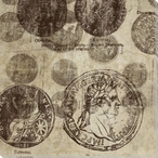 Foreign Coin Montage II Wrapped Canvas Giclee Print Wall Art