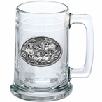 Four Bighorn Sheep Glass Beer Mug with Pewter Accent