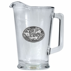 Four Bighorn Sheep Glass Pitcher with Pewter Accent