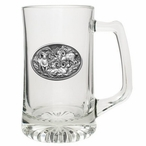 Four Bighorn Sheep Glass Super Beer Mug with Pewter Accent