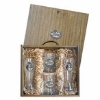 Four Bighorn Sheep Pilsner Glasses & Beer Mugs Box Set with Pewter