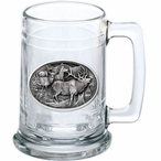 Four Elk Glass Beer Mug with Pewter Accent