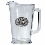 Four Elk Glass Pitcher with Pewter Accent
