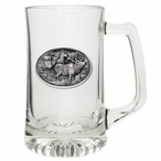 Four Elk Glass Super Beer Mug with Pewter Accent
