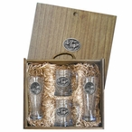 Four Elk Oval Pilsner Glasses & Beer Mugs Box Set with Pewter Accents