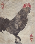 Four of Hearts Rooster Wrapped Canvas Giclee Print Wall Art