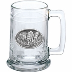 Four Wolves Glass Beer Mug with Pewter Accent