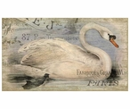 French Swan Bird Vintage Style Metal Sign