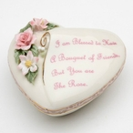 Friend Porcelain Heart Box with Flowers
