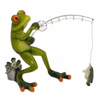 Frog Fishing Statue