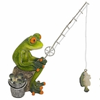 Frog Fishing with a Fishing Pole Statue
