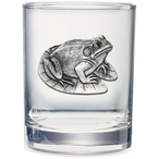 Frog Pewter Accent Double Old Fashion Glasses, Set of 2