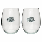 Frog Pewter Accent Stemless Wine Glass Goblets, Set of 2