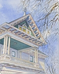 Front House Structure Wrapped Canvas Giclee Art Print Wall Art