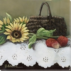 Fruit Basket IV Strawberries and Sunflowers Wrapped Canvas Print