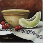 Fruit Bowl Cherries & Melon Wrapped Canvas Giclee Print Wall Art