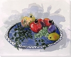 Fruit on Blue & White Platter Wrapped Canvas Giclee Print Wall Art