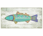 Funky Blue Fish Vintage Style Metal Sign