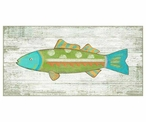 Funky Green Fish Vintage Style Wooden Sign