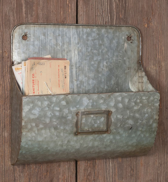 Decorative Wall Pockets Metal : Galvanized metal wall pocket organizers set of two