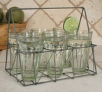 Galvanized Rectangular Wire Basket with Six Glasses