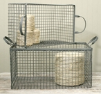 Galvanized Wire Nesting Baskets with Handles, Set of 2