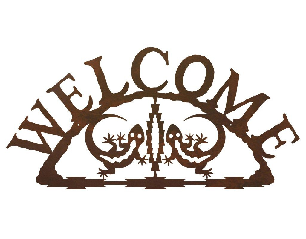 Gecko lizard metal welcome sign rustic outdoor wall decor for Outdoor decorative signs