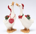 Geese Love Porcelain Salt and Pepper Shakers, Set of 4