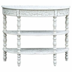 Genevieve Antique Crackled White Demilune Wood Console Table