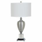 Genie Crystal and Ceramic Table Lamp with White Silk Shade