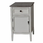 Georgia Whitewash Chairside Wood End Table with Wood Top